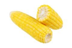 maíz amarillo cocido al vapor aislado en blanco fotos de archivo