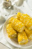 Maíz amarillo crudo en el Cobb imagen de archivo libre de regalías