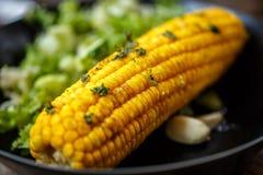 Maíz cocido con la ensalada y la hierba Foto de archivo libre de regalías