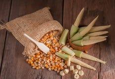 Maíz de semilla y maíz de bebé en fondo de madera de la tabla Imagenes de archivo