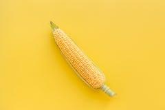 Maíz en mazorcas en copyspace amarillo de la opinión superior del fondo Fotos de archivo libres de regalías