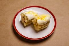 Maíz peruano con queso derretido Imagen de archivo libre de regalías