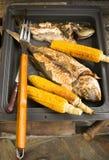 Maíz y pescados en el Bbq imagen de archivo