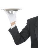 Maître d'hôtel avec le plateau Photos stock