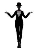 Maître de femme de silhouette de présentateur de cérémonies image stock