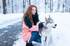 Maître femelle sur la formation de chien avec le chien de traîneau sibérien Photo libre de droits