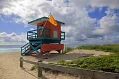 Maître nageur Stand, plage du sud Miami, la Floride Photo libre de droits