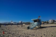 Maître nageur Tower 20 en plage de Los Angeles Santa Monica photo stock