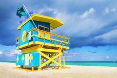 Maître nageur Tower en plage du sud, Miami photographie stock