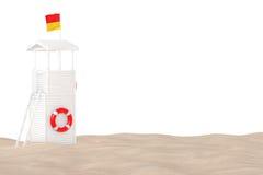 Maître nageur Tower sur le sable Sunny Beach rendu 3d illustration stock