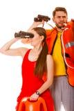 Maître nageurs avec la balise d'anneau de délivrance et le gilet de vie Photo libre de droits