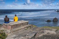 Maître nageurs chez Bathsheba Barbados West Indies photographie stock