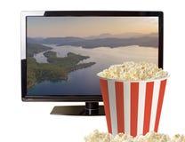 Maïs éclaté et affichage à cristaux liquides moderne TV Photos libres de droits