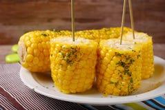 Maïs avec du beurre et des herbes Photographie stock libre de droits