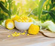 maïs bouilli sur la table en bois images stock