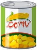 Maïs dans la boîte en aluminium illustration libre de droits