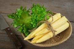 Maïs de bébé avec le légume dans le panier Image stock