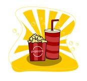 Maïs de bruit de cinéma avec la tasse de la soude et du vecteur jaune de fond illustration stock