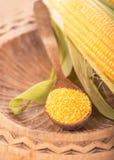 Maïs de farine dans une cuillère sur les conseils en bois foncés Image stock
