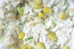 Maïs doux et poulet Mayo Images stock