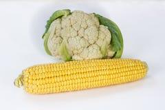 Maïs et chou-fleur frais Photo stock