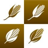 Maïs et feuilles. Éléments de conception. Ensemble d'icône. Images libres de droits
