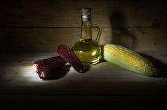 Maïs et huile de maïs Photographie stock libre de droits