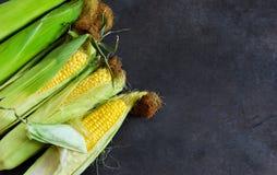 Maïs frais, juteux, cru sur un fond noir photographie stock