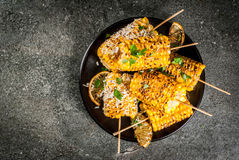 Maïs grillé de BBQ Photographie stock