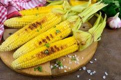 Maïs grillé savoureux frais avec du beurre, le sel de mer et le cilantro sur une table en bois Images stock