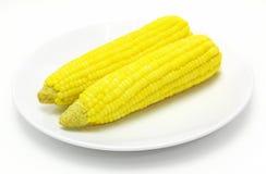 Maïs jaune bouilli savoureux sur la table Images libres de droits