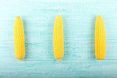 Maïs sur un fond bleu Photographie stock libre de droits