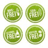 Maïs timbre gratuit gratuit, de soja gratuit, sans alcool et de coffeine - Maisfrei, Sojafrei, und Koffeinfrei Stempel d'Alkoholf illustration stock