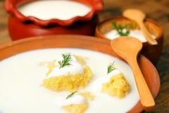 Maïsgries met melk Stock Foto's