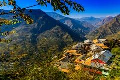 Maïsoogst in Himalayan-dorp royalty-vrije stock foto's