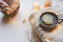 Mañana acogedora del invierno en casa Té caliente con el limón, los suéteres hechos punto y los detalles interiores metálicos mod Fotografía de archivo libre de regalías