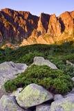 Mañana asoleada en las montañas fotografía de archivo