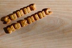 mañana asoleada Letras comestibles Foto de archivo libre de regalías
