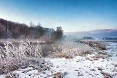 Mañana brumosa del invierno en el río Escena de niebla y escarchada rural Foto de archivo libre de regalías