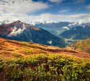 Mañana brumosa del otoño en las montañas del Cáucaso Imagen de archivo
