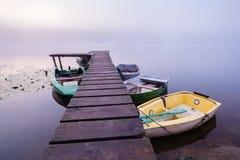 Mañana brumosa del verano en el río Fotografía de archivo