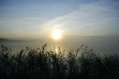 Mañana brumosa en el lago Foto de archivo