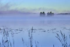 Mañana brumosa en el lago Fotos de archivo