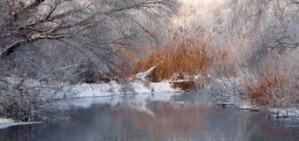 mañana brumosa escarchada en el río Foto de archivo libre de regalías