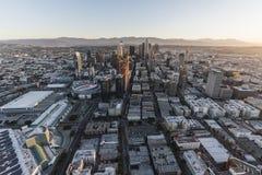 Mañana céntrica aérea de Los Ángeles California de la visión Fotografía de archivo