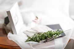Mañana de la boda Detalles nupciales ciérrese encima de los accesorios de la mujer de la visión Fotografía de archivo