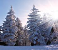 Mañana de la Navidad en estación de esquí Imagenes de archivo