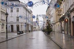 Mañana de la Navidad en Kraków céntrica, Polonia imagen de archivo