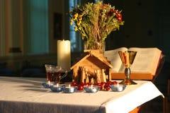 Mañana de la Navidad en la capilla 6 Fotos de archivo