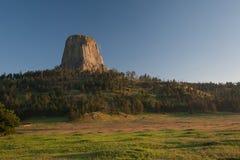 Mañana de los pinos del volcán de Tover Wyoming de los diablos Imagenes de archivo